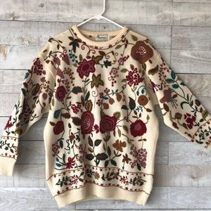 Vintage floral embroidered wool sweater